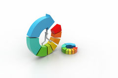3d illustration of ring colorful business chart Royalty Free Stock Images