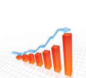 3D  illustration of rising bar chart. With blue arrow above Royalty Free Stock Photography