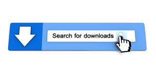 3D illustration of search and download. Web page with search toolbar for Internet concept Stock Image