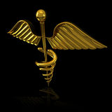 3d Illustration of Shiny Golden Caduceus on black reflective background Stock Photo