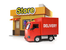3d illustration: Shop and delivery. Royalty Free Stock Image