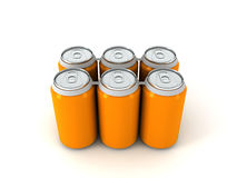 3d illustration of six orange aluminum cans. Over white background Royalty Free Stock Photos