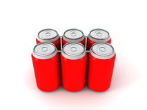 3d illustration of six red aluminum cans. Over white background Stock Photos