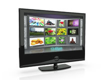3d an illustration: the TV. With pictures costs on a white background Royalty Free Stock Image