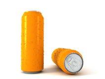 3d illustration of two orange aluminum cans. Over white background Royalty Free Stock Images