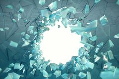 3D Illustration Wall Of Ice With A Hole In The Center Of Shatters Into Small Pieces. Place For Your Banner Royalty Free Stock Photos
