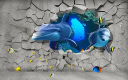 Free 3d Illustration Wallpaper Under Sea Dolphin, Fish, Tortoise, Coral Reefsand Water With Broken Wall Bricks Background Stock Image - 155027221