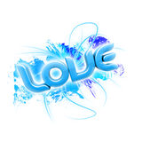 3D illustration of the word Love Blue 2 Stock Image