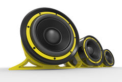 3d illustration of yellow audio speaker Royalty Free Stock Photos