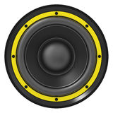3d illustration of yellow audio speaker Stock Photo