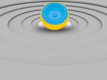 3d illustrations of colorful small speaker isolated over circula Royalty Free Stock Photos