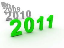 3D Image Of 2011 (Green). On Soft White Background stock illustration