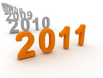 3D Image Of 2011 (Orange). On Soft White Background Royalty Free Stock Photos