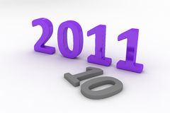 3D Image Of 2011 (Purple). On Soft White Background Passing The Year 2010 Royalty Free Stock Photo
