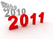 3D Image Of 2011 (Red). On Soft White Background vector illustration