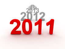 3D Image Of 2011 (Red). On Soft White Background With Years Increasing On The Back stock illustration