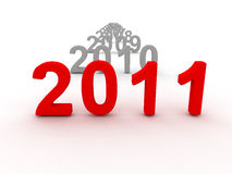 3D Image Of 2011 (Red). On Soft White Background With Years Increasing Stock Image