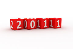 3D Image Of 2011 (Red-Dice). 3D Image Of 2011 Isolated (Red-Dice) On Soft White Plane stock illustration