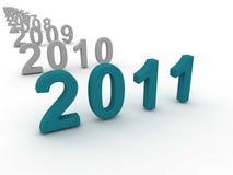 3D Image Of 2011 (Turquoise). On Soft White Background Stock Photo