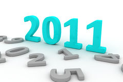 3D Image Of 2011 (turquoise). On Soft White Background With Past Years Numbers Around royalty free illustration