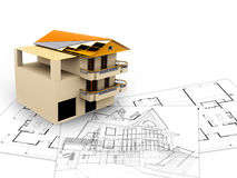 3d image, architecture concept. And design Royalty Free Stock Photos
