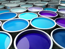 3d image of different color metal tank background Royalty Free Stock Photo