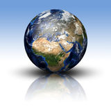 3D image of planet Earth. With shadow and reflection. View to Europe and Africa Stock Image