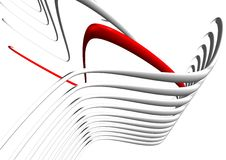 3D Image of Red & Gray Lines. 3D image of red and gray lines in an illustration Stock Image