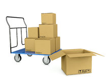 3d image trolley with boxes. Symbolizing bystrtsyu shipping and warehouse on a white background Royalty Free Stock Photos