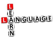 3D imparano le parole incrociate di linguaggio Immagini Stock Libere da Diritti