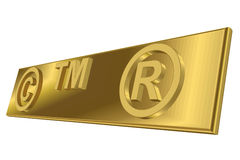 3D important symbols. Copyright, trademark and registered trademark symbols Stock Images