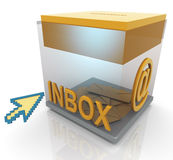 3d inbox and mouse pointer Stock Image