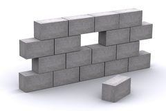 3d Incomplete Concrete Wall. 3d rendered incomplete concrete wall with a missing brick Royalty Free Stock Photo