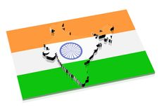 3D India Map Stock Images