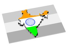 3D India Map Royalty Free Stock Photo