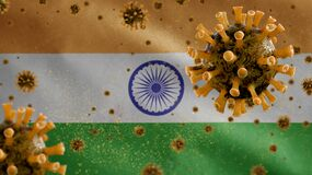 Free 3D, Indian Flag Waving With Coronavirus Outbreak. India Covid 19 Royalty Free Stock Photos - 216183908