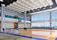 3d indoor gymnasium. Indoor modern gymnasium - basketball.3D render Stock Photography