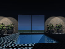 3d indoor pool Stock Photography