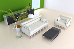 3D indoor sitting room rendering Royalty Free Stock Photos
