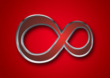 3D Infinity symbol. Infinity symbol / sign in red background Stock Photography