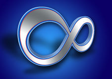 3D Infinity symbol. Infinity symbol / sign in blue background Stock Photos