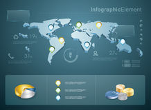 3d infographics. 3d vector world map illustration and infographics design template Stock Photography