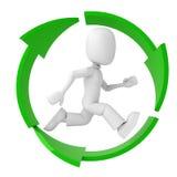 3d inom man återanvänder running symbol Arkivfoton