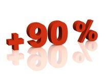3d inscrição vermelha - sinal de adição de ninety por cento Imagens de Stock
