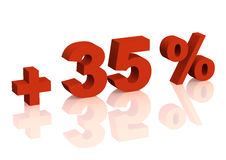 3d inscrição vermelha - sinal de adição de trinta e cinco por cento Fotos de Stock Royalty Free
