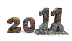 3D an inscription 2011. A material - a volcanic lava, effect of destruction of an inscription 10 stock illustration