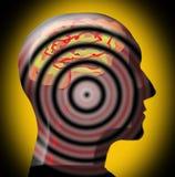 3D Intense Hersenen - Hoofd - concentreerden zich en op Doel Royalty-vrije Stock Foto's