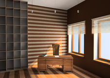 3D interior. Of study in a sunny day Stock Images