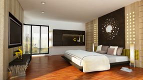 3d Interior. Have interior decoration bedroom by 3d max render by vray Stock Illustration