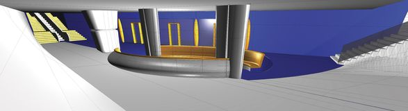 3D interior. 3D drawing of a subway station interior Royalty Free Stock Photos